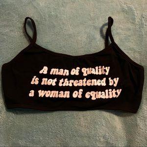 Tops - NWOT Printed Feminism Bralette